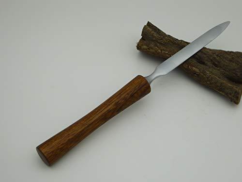 Edler Brieföffner mit Griff aus Teak Holz handgedrechselt -