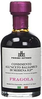 Poderi Estensi Condiment au Vinaigre Balsamique IGP Aromatisé Naturellement à la Fraise Densité 1,33 100 ml - Lot de 4