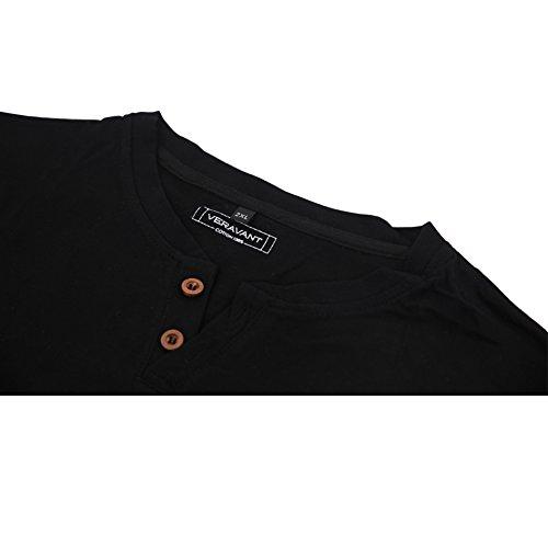 Veravant Herren T-Shirt Kurzarm Shirt mit Grandad-Ausschnit Aus 100% Baumwolle Slim Fit Meliert Schwarz