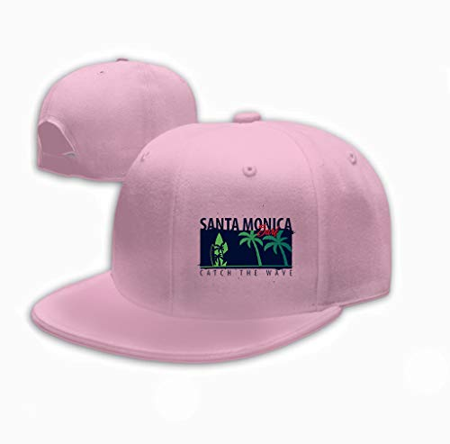Xunulyn Vintage Denim Cap Hat Adjustable Sports Trucker Baseball Hat Santa Monica Surfing Graphic Palms Design Print sant Pink - Stoff Santa Monica