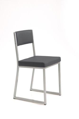 Naber Sassetta 1. Stuhl. Gestell edelstahlfarbig, Sitzfläche: anthrazit