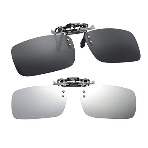 FLAMEER 2pc Polarisierte Uv400 Clip Auf Myopie Sonnenbrille Nachtsichtgläser