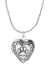 OULII - Collar con colgante de corazón clásico para mujer y niña (A65-1-33), diseño de huellas de pie, color plateado