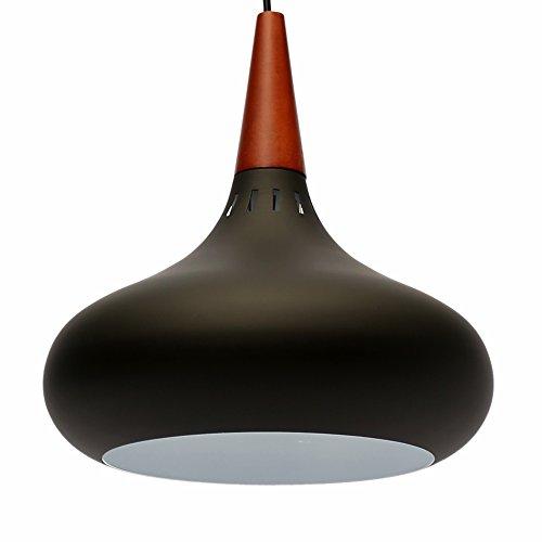 E27 Métal Moderne Suspensions Luminaires Aluminium et Bois Suspensions Luminaire Plafonnier Luminarie Blanc Vernis Plafond Lustre Suspensions Luminaire Contemporain Suspensions Lampe(Noire)
