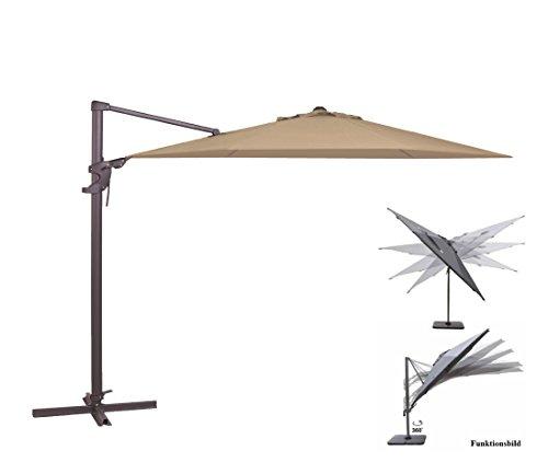 Madison Ampelschirm Monaco Flex 330 cm in natur ecru inklusive Ständer, sowohl axial als auch am...