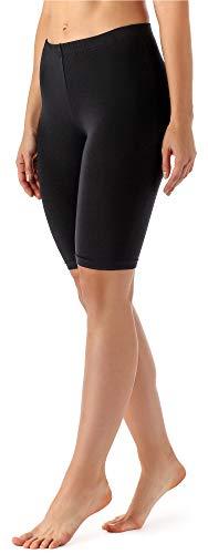 Merry Style Damen Kurze Leggings aus Viskose MS10-145 (Schwarz, 48 (Herstellergröße: XXXXL)) - Modisch Frühjahr