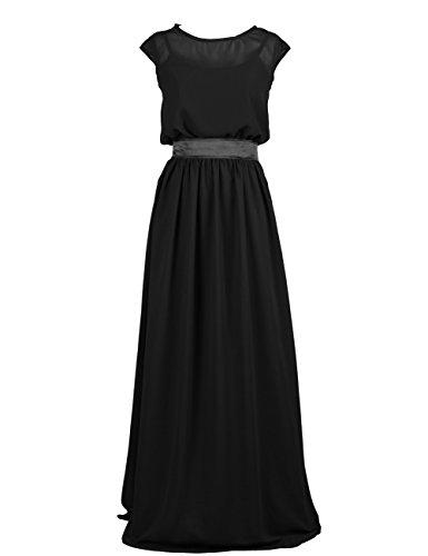 Dressystar Robe femme, Robe de soirée/ Cérémonie longue, simple, en Mousseline Noir