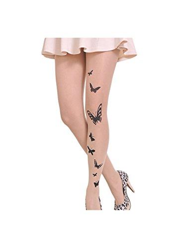 Qingsun Damen StrumpfhosenDie neue Stempel Tattoo Strümpfe Strumpfhosen (Schmetterlinge)