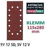 Hitachi–753078–Carta abrasiva per levigatrice levigatrici orbitali 115x 280mm grana 240Clip-on (10pezzi)