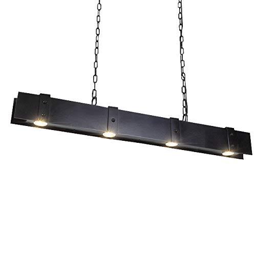 Led Warmweiß Licht Hängeleuchte Schwarz Eisen 4-Flammige Pendelleuchte Höhenverstellbar Jugendstil Küche Esszimmer Decke-Lampe G10 12W -