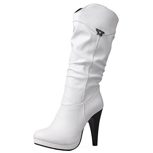 Party Casual Femmes Bottes Synthétique Blanc Hauts ENMAYER à Talons Toe Platform Round tZEqdwg