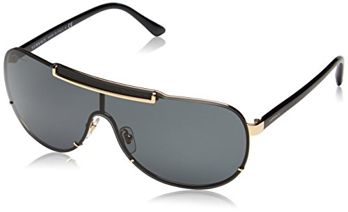 Versace Herren VE 2140 Rock Icons Greca Aviator Sonnenbrille, 100287, Gold, Gray