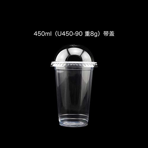 ROKTONG Pappbecher,Transparente Dicke Einweg-Teetasse Plastikbecher Saft Heißes Und Kaltes Getränk Tasse Mit Deckel 100Pas450Ml + Ball Abdeckung Flachdeckel