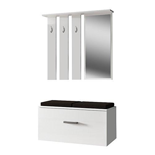 Internum Onyks - Garderobenset/Flurgarderobe mit Spiegel Sitzbank Schuhschrank Wandpaneel in Holzoptik Matt 85 cm breit