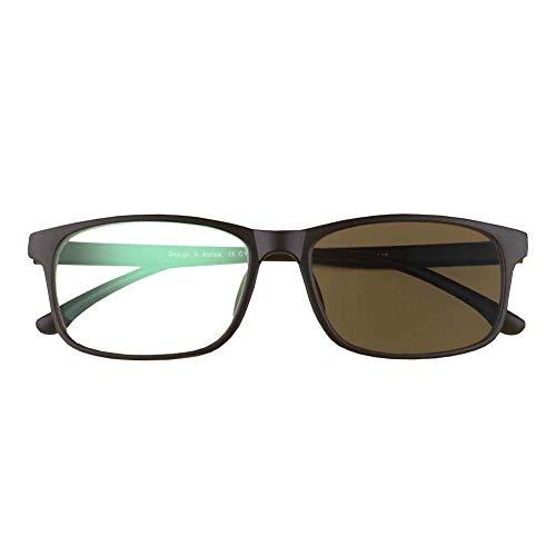 Ultraleichte Farblinsen-Lesebrille, asphärisches Gleitsichtglas TR-90 Frame Anti-UV-Multifokus-Sonnenlesegerät,Black,+2.5