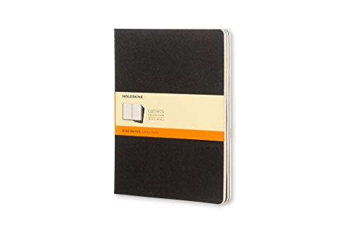 Ruled cahier - black cover extra large. Set 3 quaderni a righe