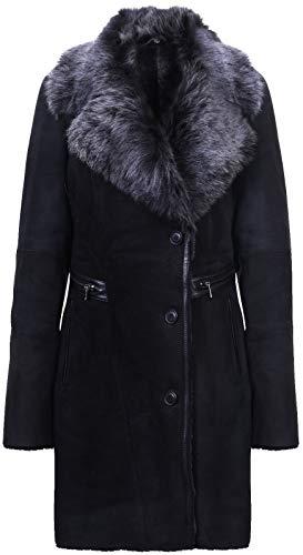 Infnity Leather Damen Schwarz Brissa Wildleder Merino Lammfell Wildledermantel Mit Toscana Halsband XL