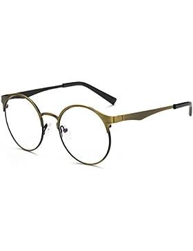 Occhiali da donna rotondi in metallo - Occhiali da vista con lenti blu trasparenti per computer / giochi PC /...