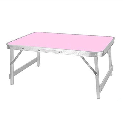 Gfl Laptop-Tabelle Aluminiumlegierungs-zusammenklappbares Bett-Obergebrauchsschlafsaal Lernen kleines Buch-Schreibtisch-Rechteck (70 * 48 * 31cm) Computerstand (Farbe : Pink) - Kaffee-tisch-bücher Pink