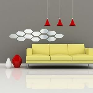 12pcs acrylique autocollant art bricolage 3d mur miroir hexagonal maison décor intérieur de décalque