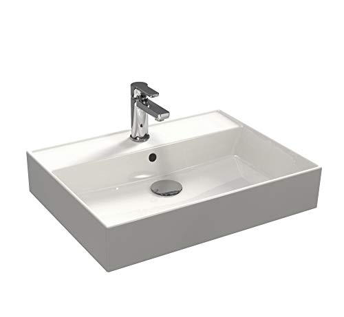 Aqua Bagno | Waschbecken 60 im modernen Loft Air Design | Eckig | Wand-Waschbecken | Möbelwaschtisch | Waschtisch aus Keramik | Weiß | 605 x 465 x 130 mm