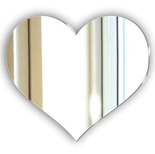 Mirrors-Interiors * Weihnachten dekorative rahmenlose Love Herz Spiegel-kein DIY kein Nagel erforderlich,-Kit-Bett Zimmer-Wohnzimmer-Flur-Jeden Raum-Wandspiegel, Plastik, Silber, 20 cm