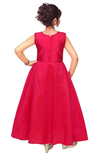 4 YOU Girl's Cotton Silk Princess Gown (Deep Pink, 10-11 Years)