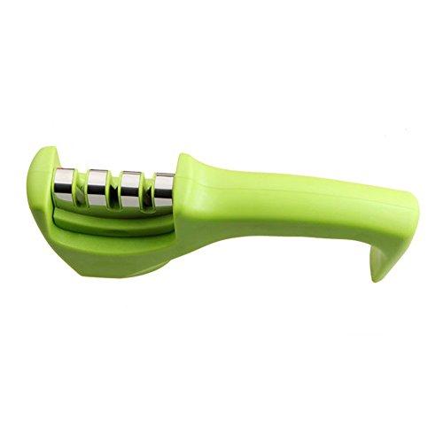 Messerschärfer Messerschleifer Knife Sharpener mit 3 Stufen, Messer schärfer für Edelstahl und Keramikmesser aller Größen, Rutschfestem (Grün)