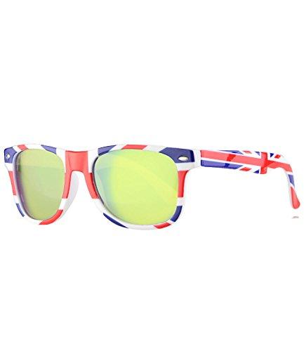 caripe Kinder Sonnenbrille Kinder Wayfarer Retro Design - barna (Einheitsgröße, country-UK - neon verspiegelt)