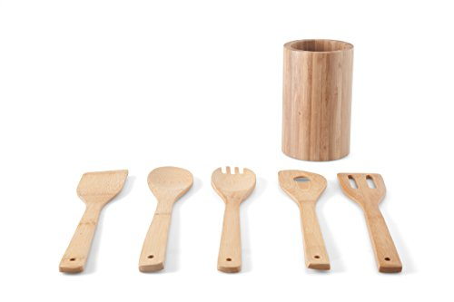 KASA 5 Piece Bamboo Kitchen Cooking Utensils Set with Holder