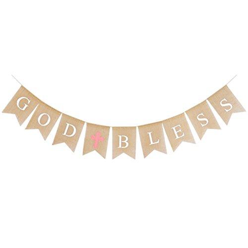 N Briefe Sackleinen gegabelten Schwanz Banner Garland Bunting Flags für Baby Shower Geburtstag Taufe Taufe Party Dekoration Gefälligkeiten (braun und Pink) ()
