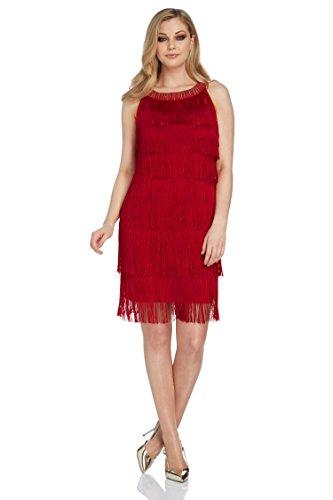 Roman Originals - Robe Sans Manches à Franges Charleston Années 20 Vintage - Rouge Rouge