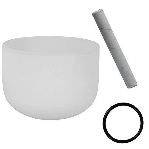 Lefang Singing Bowls F Note Perfect Pitch Crystal Singing Bowl Heart Chakra 8 Inch (O-Ring and Mallet Or Drum Package),White -