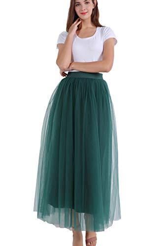 fca7d47ad FOLOBE Falda Larga de Tul con Cintura elástica en Primavera y Verano para  Mujer de una línea