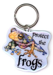 "Dan Morris - Protect The Frogs & Hop Your Way To Greener Future - Unique Metal Portachiavi Keychain - 2.5"" x 2"""