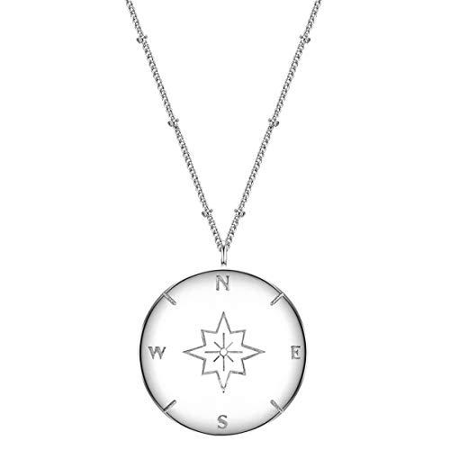 Glanzstücke München Damen-Kette mit Anhänger Kompass Sterling Silber 50 + 5 cm - Modern-Kette mit rundem Anhänger Silber-Kette mit Symbol