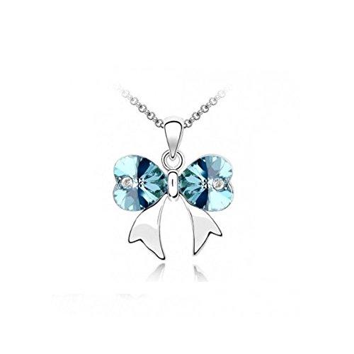 Collier noeud coeur cristal swarovski elements plaqué or blanc Bleu turquoise