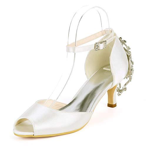 L@tc tacco a spillo donna con tacco medio con fibbia in cristallo, scarpe da sposa con tacco a spillo e tacco 6 cm, ivory, 41