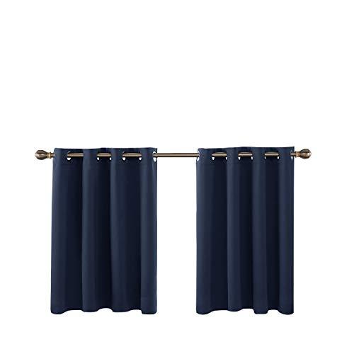 Deconovo mantovana tende oscuranti termiche isolanti con anelli per casa moderne 132x92cm blu navy 2 pannelli