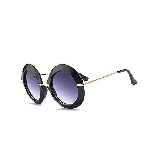 WJFDSGYG Gelben Rahmen Runde Sonnenbrille Übergroßen Schwarzen Kreis Brille Designer Frauen Grün Rot Sommer Brille Uv400