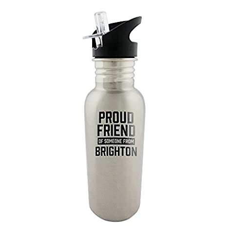 Proud friend of someone from Brighton Stainless steel 600ml bottle with straw top