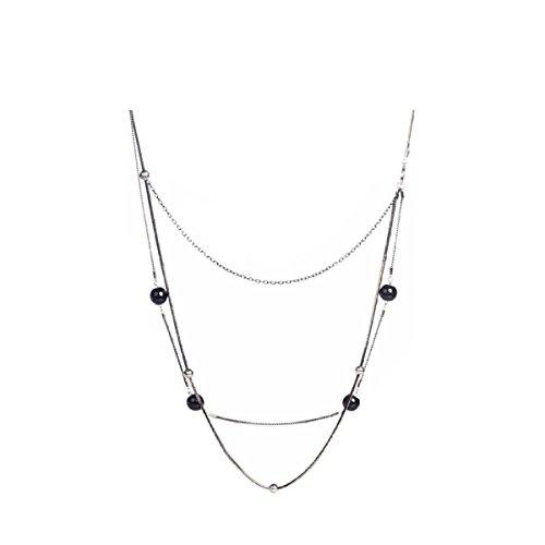 NIUWJ Damen Fashion Wild Lange Abschnitt Pullover Kette Mehrschichtige Ball Einfache Schwarz Rosa Kleidung,Black -