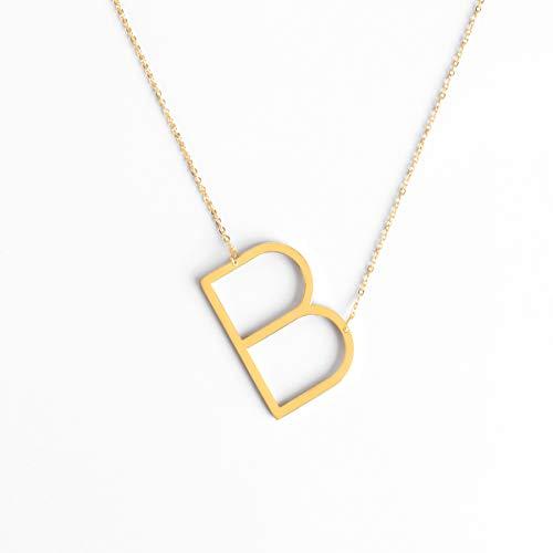 ecklace | Damen Edelstahl Halskette | personalisierte Kette mit großem Buchstaben Anhänger in Gold, Silber und Roségold (B, Gold) ()