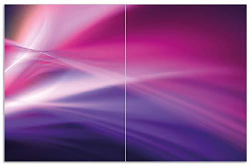 Wallario Herdabdeckplatte/Spritzschutz aus Glas, 2-teilig, 80x52cm, für Ceran- und Induktionsherde, Motiv Abstrakte Formen und Linien in pink lila