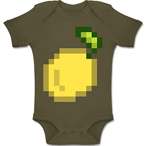 Nerds Geeks Jungs Und Kostüm - Shirtracer Karneval und Fasching Baby - Pixel Zitrone - Karneval Kostüm - 6-12 Monate - Olivgrün - BZ10 - Baby Body Kurzarm Jungen Mädchen