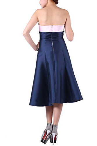 BRLMALL Damen trägerlose Plain Taft Tee-Länge Partei-Kleider Lila