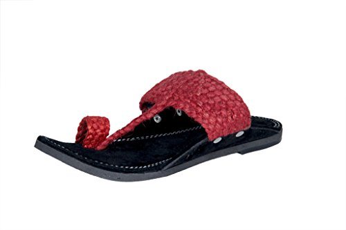 Panahi Men's Jute Velvet Red Sandal