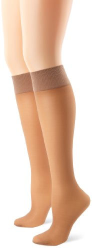 Hanes Silk Reflections Women's Alive Full Support 2 Pack Sheer Knee Highs