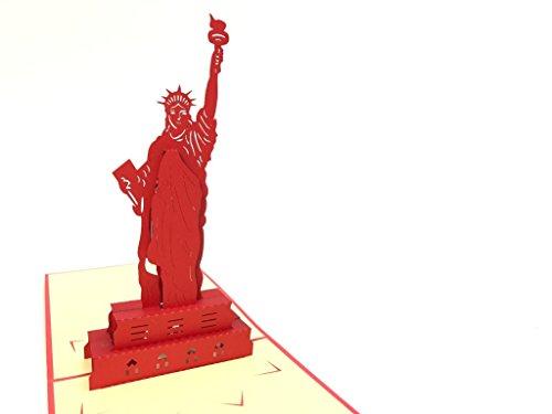 Statut von Liberty New York NY Leber Building Birds 3D Pop up Grußkarten Jahrestag Baby Geburtstag Ostern Halloween Mutter Vater New Home NEW YEAR Thanksgiving Valentine Hochzeit Weihnachten -