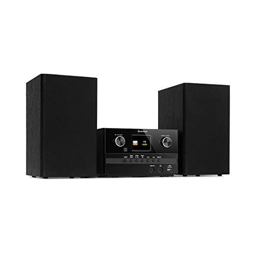 auna Connect System S Mikroanlage, Ausgangsleistung: 20 Wmax, Stereo: inkl. 2 Lautsprechern, Internet- / DAB+ / UKW-Radio, CD-Player: Audio-CD/CD-R/CD-RW / MP3-CD, Bluetooth-Funktion, schwarz